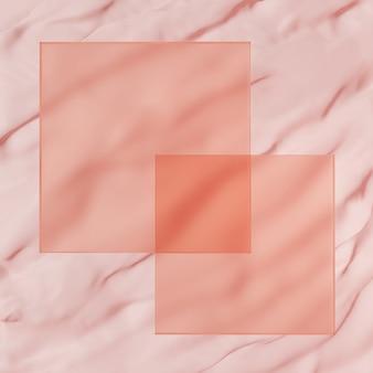 Exibição do produto em foto de estúdio de renderização 3d ou fundo de quadro de mensagens com esferas rosa transparentes