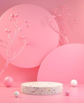 Exibição mínima de renderização em 3d com ilustração de fundo abstrato rosa pastel