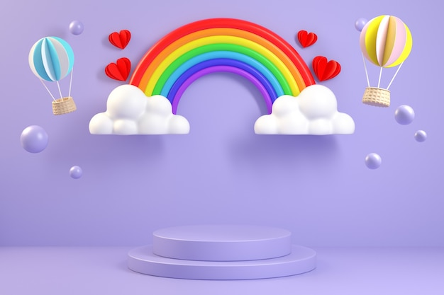 Exibição roxa mínima com cena colorida do arco-íris. renderização 3d