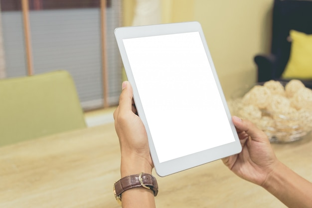 Exibição vazia de tablet de maquete.