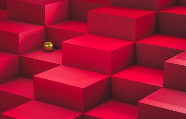 Exibir fundo com escadas de caixa de cubo vazio. cena de luxo. 3d rendem.