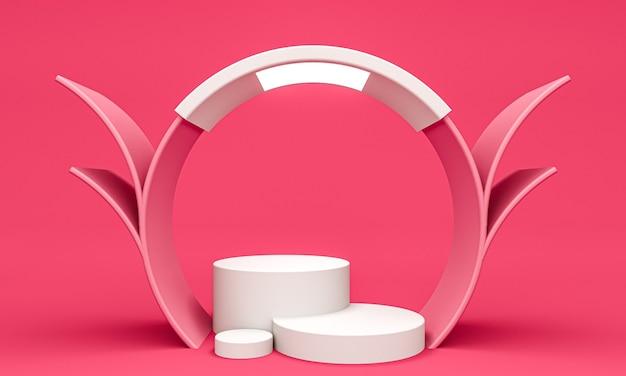 Exibir plano de fundo para apresentação de produtos cosméticos, pódios de cilindro em fundo rosa