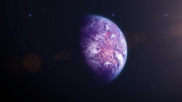 Exoplaneta de pedra rosa com nuvens