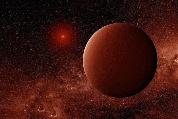 Exoplaneta em cores vermelhas. os elementos desta imagem foram fornecidos pela nasa. foto de alta qualidade