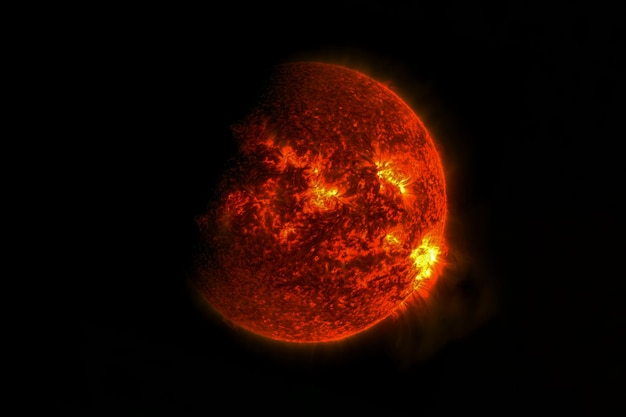 Exoplaneta vermelho no espaço profundo. os elementos desta imagem foram fornecidos pela nasa. foto de alta qualidade