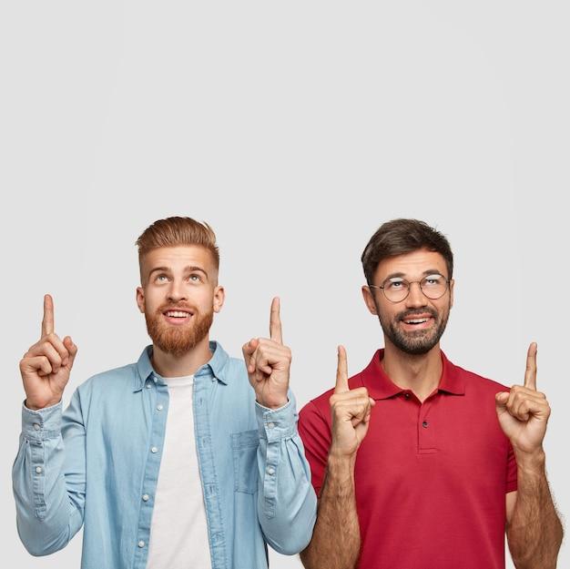 Experimente isso. tiro vertical de dois caras ou companheiros satisfeitos apontando para cima