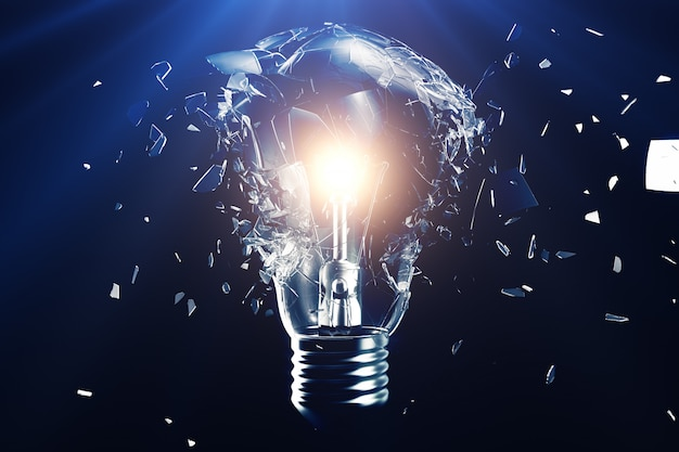 Explodindo a lâmpada em um azul