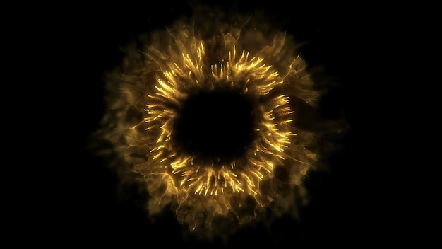 Explodir fundo. explosão isolada. pano de fundo preto. onda de choque redonda. elemento abstrato cor de ouro