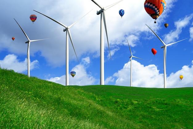 Exploração agrícola da turbina eólica na paisagem bonita da natureza.