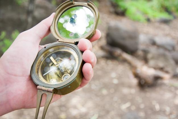 Explorando a floresta com uma bússola na mão