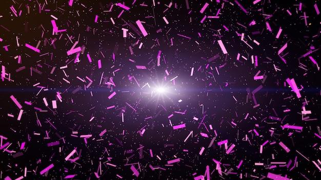 Explosão colorida do papel do partido dos confetes e queda para baixo. fundo roxo escuro.