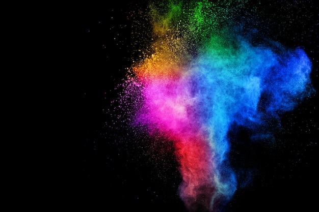 Explosão colorida para feliz holi pó estourar ou espirrar.