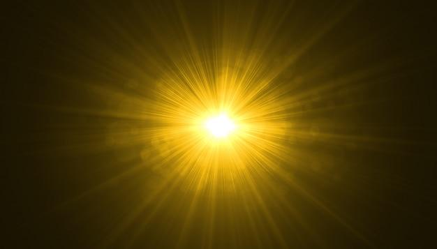 Explosão de explosão de luz brilhante sobre fundo preto