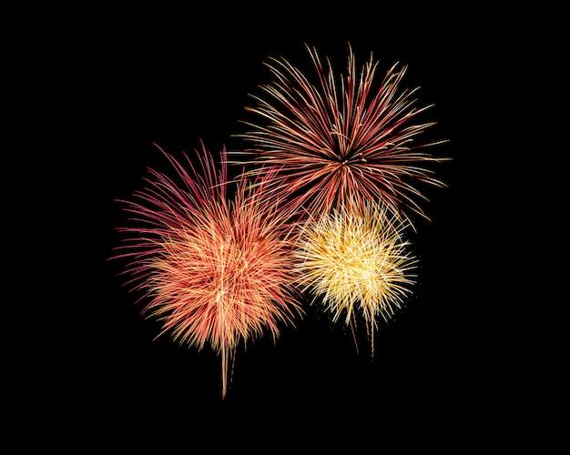 Explosão de fogos de artifício coloridos festivo abstrata em fundo preto