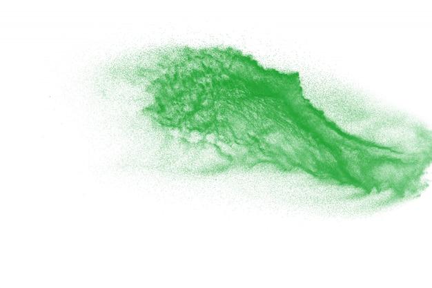 Explosão de partículas de poeira verde. pó respingo de poeira.