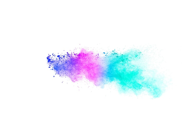 Explosão de partículas multicoloridas em fundo branco. respingos de poeira colorida.