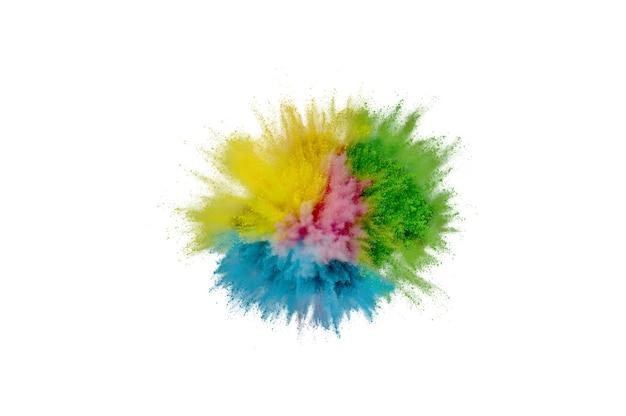 Explosão de pó colorido em fundo branco. pó de closeup abstrata no pano de fundo. explodir colorido. pintar holi