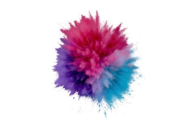 Explosão de pó colorido em um fundo branco. pó de closeup abstrata no pano de fundo. explodir colorido. pintar holi