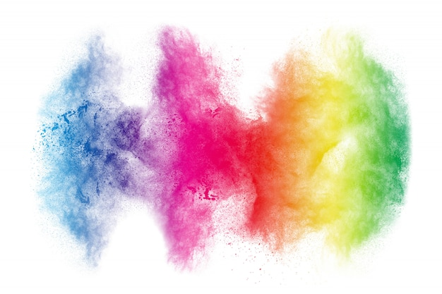 Explosão de pó colorido sobre fundo branco. respingo de partículas de poeira abstrata cor pastel.