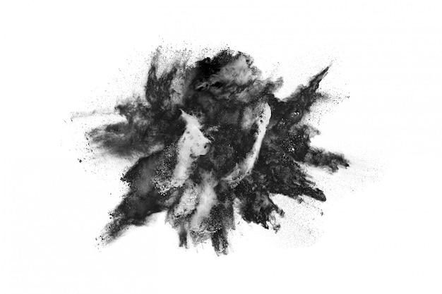 Explosão de pó preto fundo branco