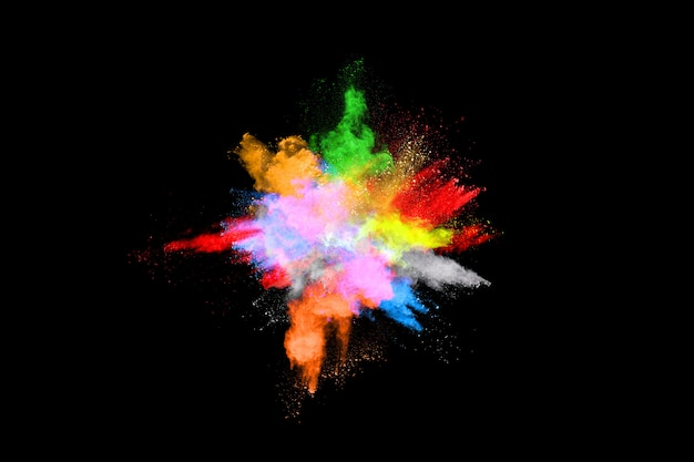 Explosão de poeira colorida abstrata em fundo preto
