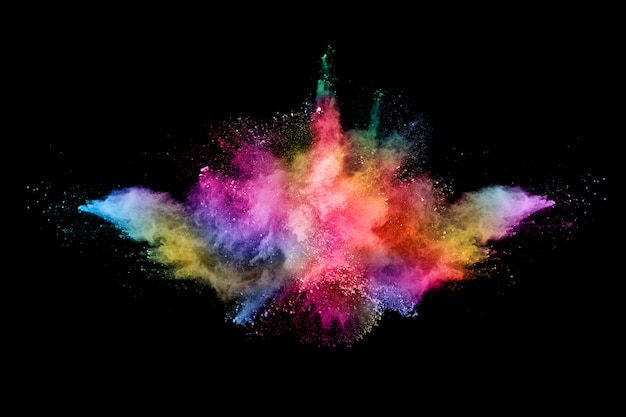 Explosão de poeira colorida abstrata em um preto.
