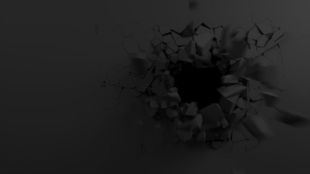 Explosão de uma abertura de parede preta na ilustração 3d da parede