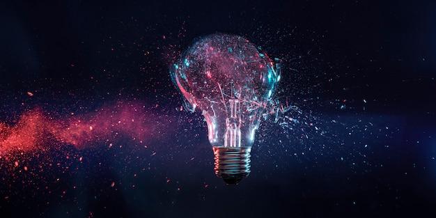 Explosão de uma lâmpada elétrica de filamento no momento do impacto.