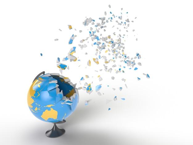 Explosão do globo. renderização fotorrealística em 3d de alta qualidade