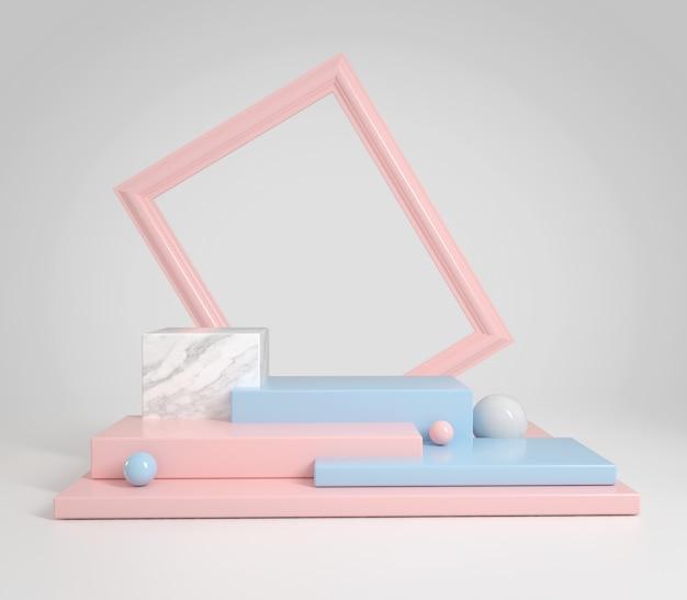 Exposição abstrata limpa azul pastel e rosa com moldura para texto ou produtos