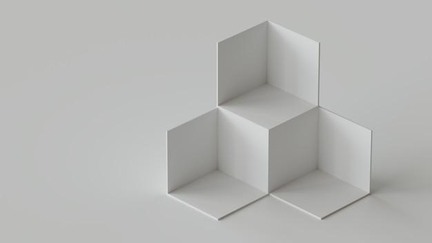 Exposição branca do contexto das caixas do cubo no fundo branco. renderização em 3d.