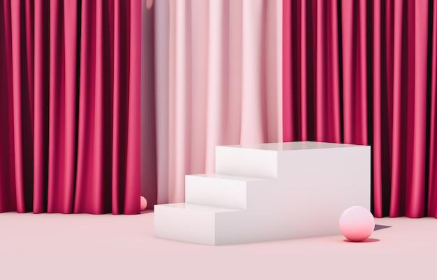 Exposição de luxo com escadas de caixa vazia de cubo branco. cena de luxo. 3d render rosa.