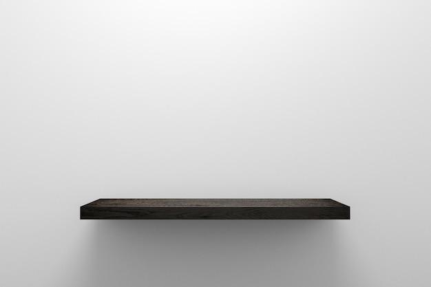 Exposição de madeira da prateleira ou do produto no fundo branco da parede com conceito da decoração home. prateleira de madeira e espaço em branco para o projeto. renderização em 3d.