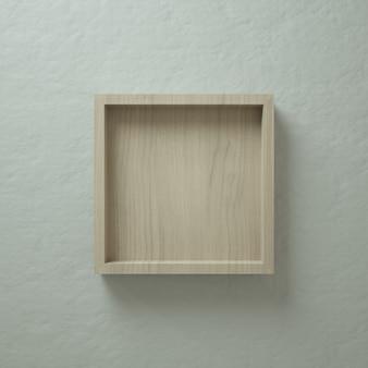 Exposição de parede da caixa quadrada de madeira 3d