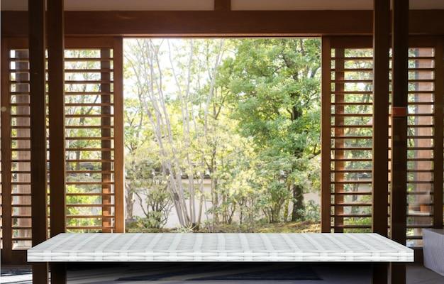 Exposição de produto de fundo de prateleira de contador de mesa de exibição de natureza jardim branco vazio