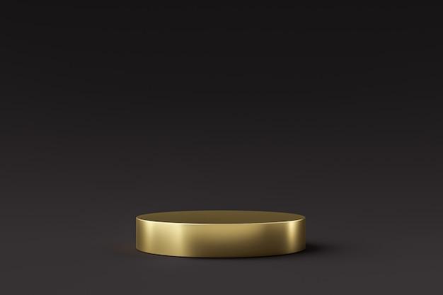 Exposição de produto dourado ou pódio ficar em fundo preto. pedestal moderno para design. renderização em 3d.