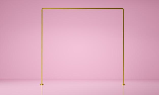 Exposição de produtos com moldura dourada. conceito de luxo. fundo geométrico abstrato, renderização 3d