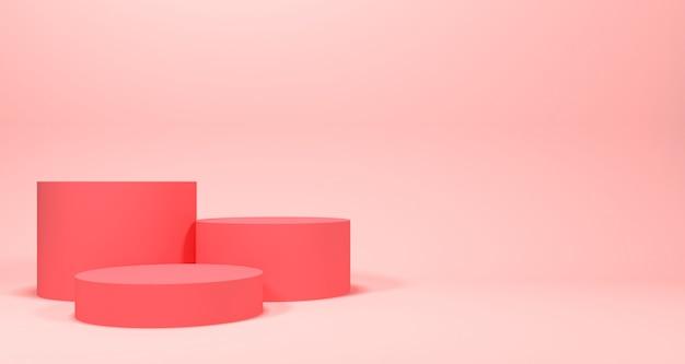Exposição de produtos cosméticos com cor pastel. renderização em 3d de fundo.