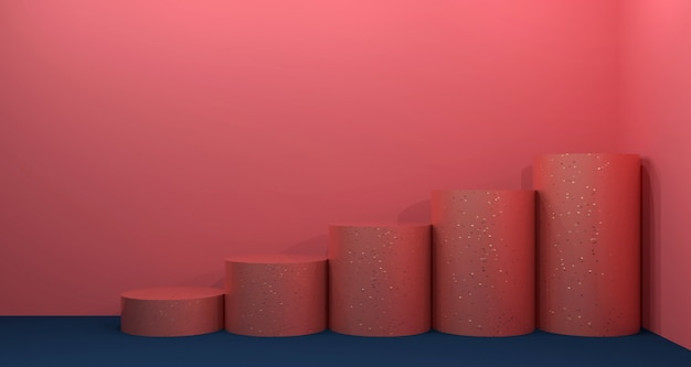 Exposição de produtos cosméticos com coral e azul marinho. renderização em 3d de fundo.