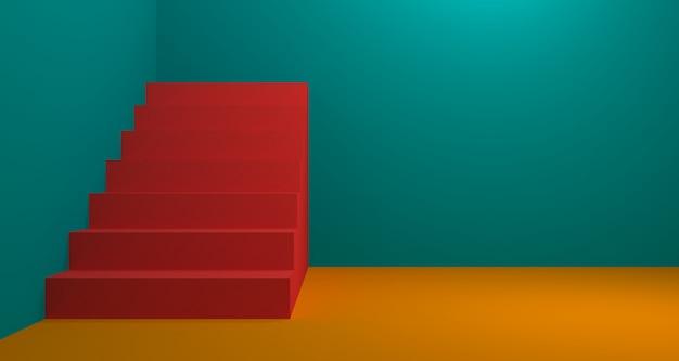 Exposição de produtos de moda com cor coral. renderização em 3d de fundo.