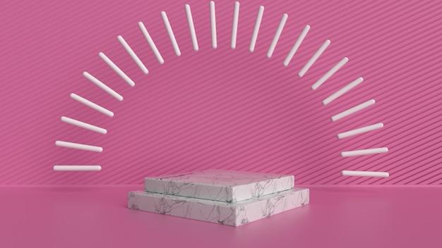 Exposição de produtos em mármore e rosa