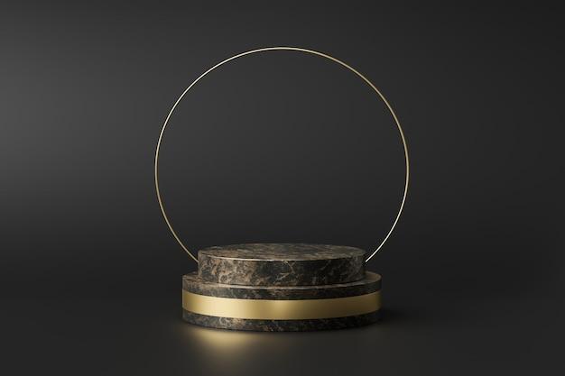 Exposição de produtos em mármore preto com formas geométricas. pedestal vazio ou pódio. renderização em 3d.