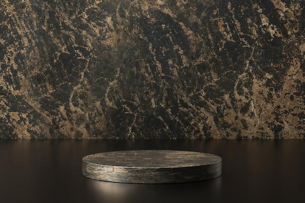 Exposição de produtos em mármore preto. pódio de pedestal vazio para mostrar. renderização em 3d.