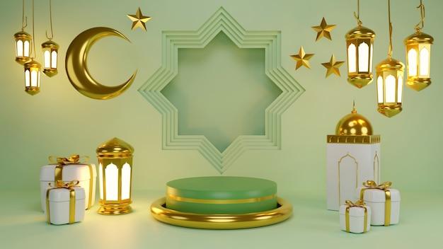 Exposição de produtos islâmicos. pódio, lua crescente, lanterna, caixa de presente. ramadã, ano novo islâmico. renderização 3d.