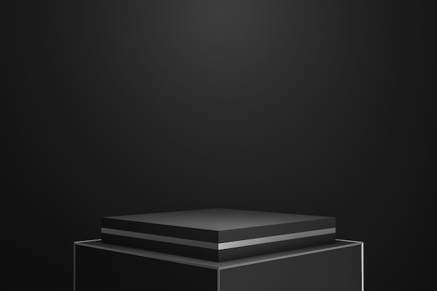 Exposição moderna do pódio ou do suporte no fundo escuro com o projetor que mostra o conceito.