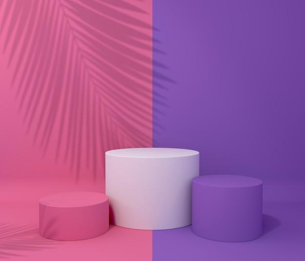 Exposição para apresentação do produto, sombra de árvore tropical, duas cores