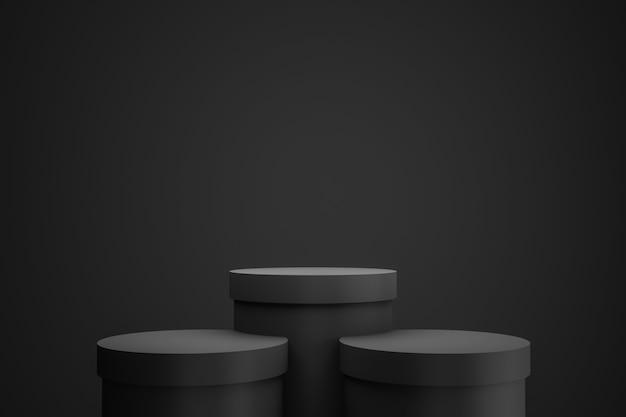 Exposição preta do pódio ou do suporte no fundo escuro com conceito do suporte do cilindro.