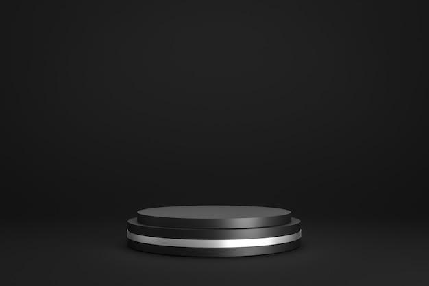 Exposição preta do pódio ou do suporte no fundo escuro com suporte do cilindro e conceito do anel de prata.