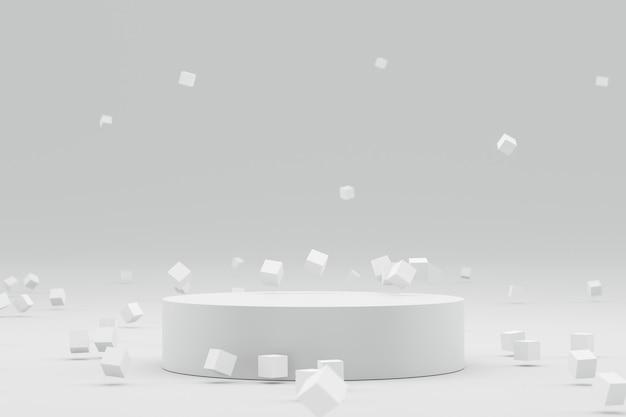 Exposição vazia do pódio ou do suporte no fundo branco com conceito geométrico e futurista abstrato.