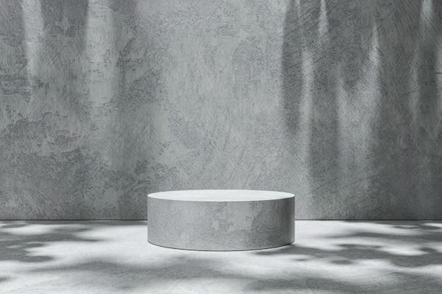 Exposição vazia do produto dos cenários da cena da sala no fundo do cimento com sombra ensolarada no estúdio em branco. plataforma de pedestal ou pódio vazia. renderização em 3d.